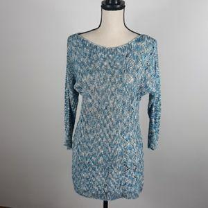 Nic & Zoe linen blend open crochet Sweater Sz M